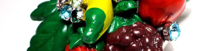 Apoxie Sculpted Fruit Pendant