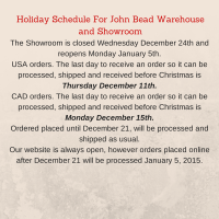 Holiday Schedule For John Bead Warehouse