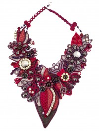 Midnight Leaves Soutache Statement by Nancy Donaldson for John Bead Corp and Dazzle-it!